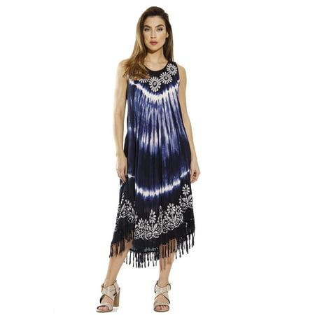 2c56d71b206 Riviera Sun - Riviera Sun Dress   Tie Dye Batik Dresses for Women (Navy    White