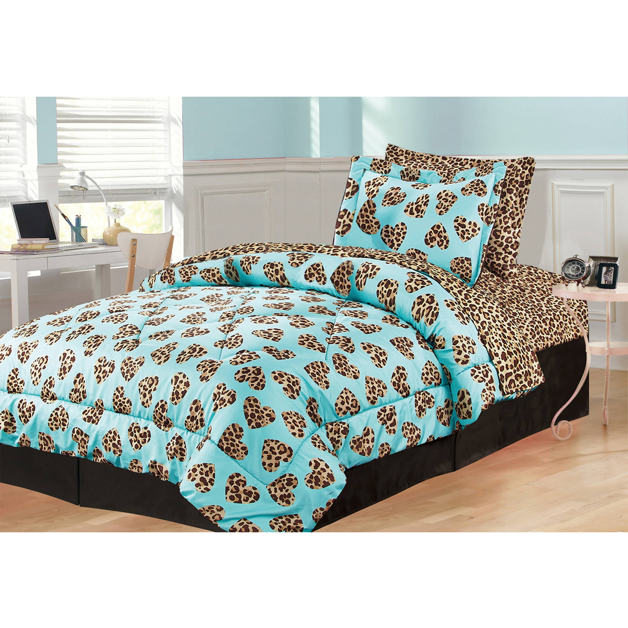 Your Zone I Heart Cheetah Comforter Set   Walmart.com