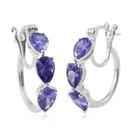Silver Pear Cubic Zircon Purple CZ Hoops Hoop Earrings for Women Hypoallergenic Cttw 5.4 0.25 Ct Tw Hoop