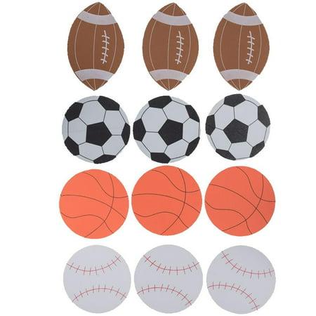 Set of 12 Foam Football, Baseball, Basketball, Soccer Ball Cut Outs