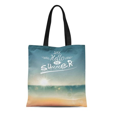 ASHLEIGH Canvas Tote Bag Beach Say Hello to Summer Creative Message for Your Reusable Shoulder Grocery Shopping Bags