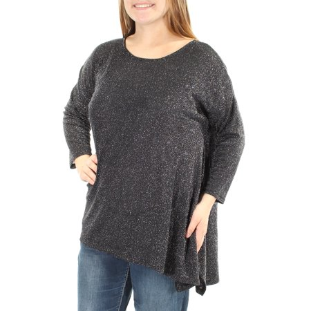 CATHERINE Womens Black Glitter  Asymmetrical Hem 3/4 Sleeve Scoop Neck Top  Size: M Glitter Scoop Neck Top