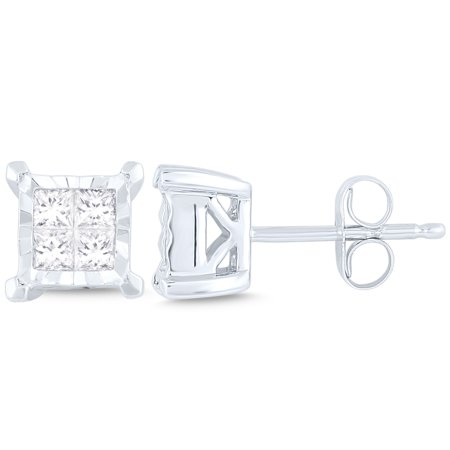 1/2 ct diamond 4 stone Princess Stud Earrings (I2I3 clarity, IJ color) 10kt White Gold.