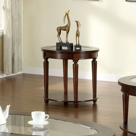 Rnd Glass Top Table (Furniture of America Maerion Glass Top End Table)