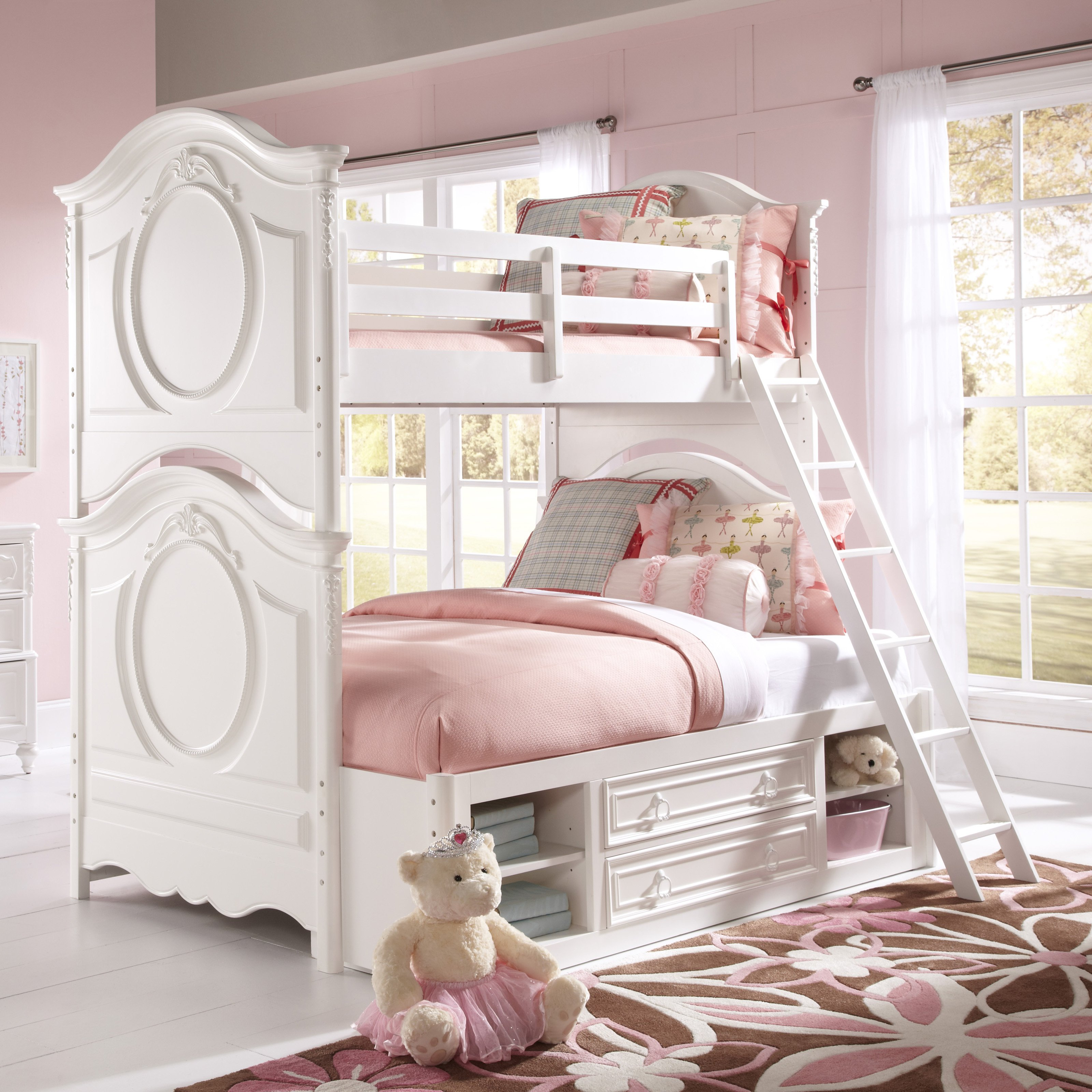 SweetHeart Twin over Full Bunk Bed - White