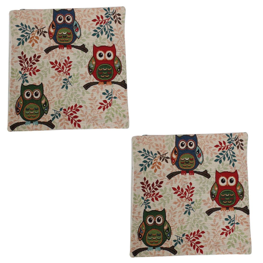 Sofa Decor Linen Owl Leaf Pattern Waist Cushion Pillow