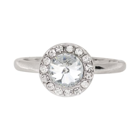 X & O Rhodium Plated 6mm Round Clear Swarovski Crystal with Halo Ring