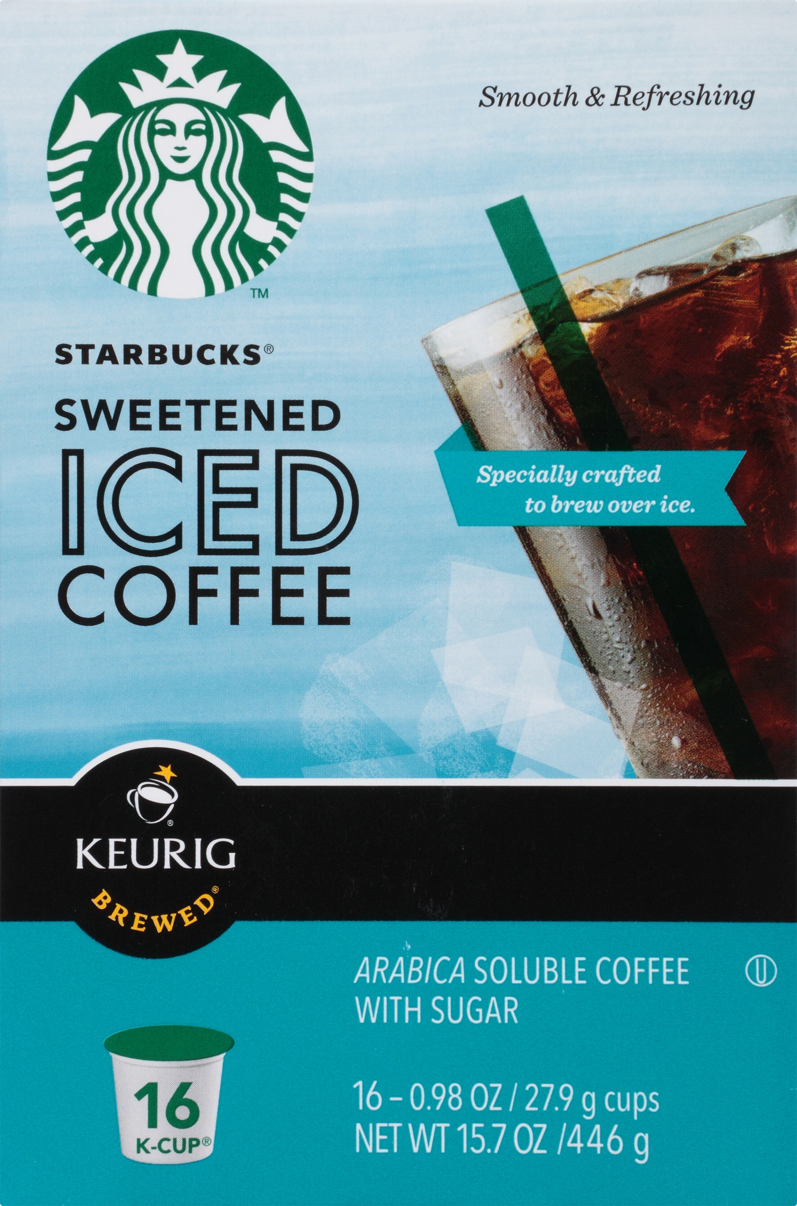 Starbucks K Cup Sweetened Iced Coffee 16 Count Walmart Com