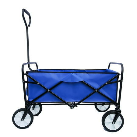 Beach Wagon for Sand, Wagons Grocery Cart with Wheels, Garden Cart with Adjustable Handle, Beach Cart with 2 Mesh Cup Holders, for Outdoor Activities, Beaches, Gardens, Parks, Shopping, S10489