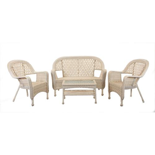 4-Pc Nutmeg Brown Resin Wicker Patio Furniture Set - Loveseat, Chairs & Table
