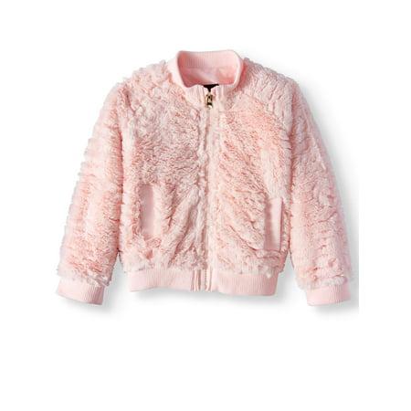 Faux Fur Coat Girl (Textured Faux Fur Bomber Jacket Coat (Toddler)