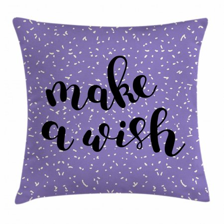 Quote Throw Pillow Cushion Cover, Brush Calligraphy Make a Wish Quote Uplifting Composition on Violet Background, Decorative Square Accent Pillow Case, 16 X 16 Inches, Violet Black, by Ambesonne