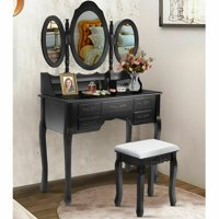 Costway Black Tri Folding Oval Wood Vanity Makeup Table Set 7 Drawers