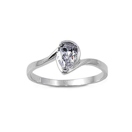 Gem Teardrop Solitaire (Solitaire Teardrop Cubic Zirconia Ring Sterling Silver 925 Size)