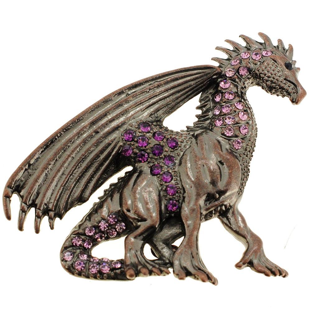 Mythical Amethyst Flying Dragon Crystal Brooch Pin by