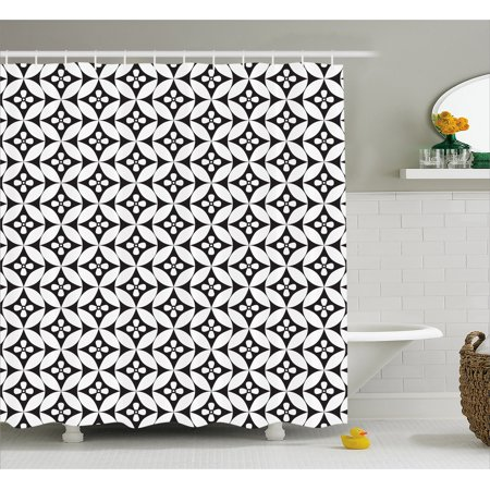 Black And White Shower Curtain Mosaic Of Floral Circles Old Fashioned Geometric Pattern Optical Effect