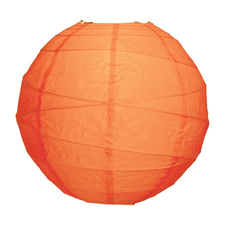 Luna Bazaar Premium Paper Lantern, Clip-On Lamp Shade (12-Inch, Free-Style Ribbed, Mango Orange) - Chinese/Japanese Hanging Decoration - For Parties, Weddings, and Homes