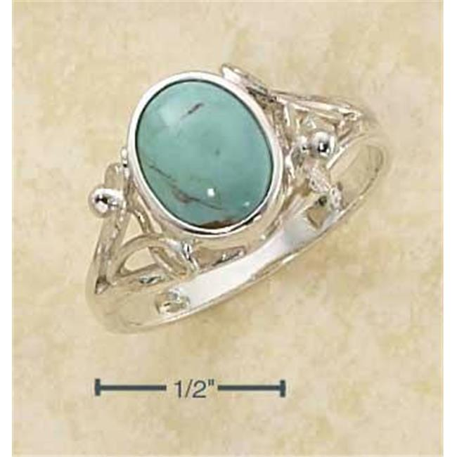 Sterling Silver Oval Turquoise Ring with Small Flower Scrolled Split Shank - Size 8