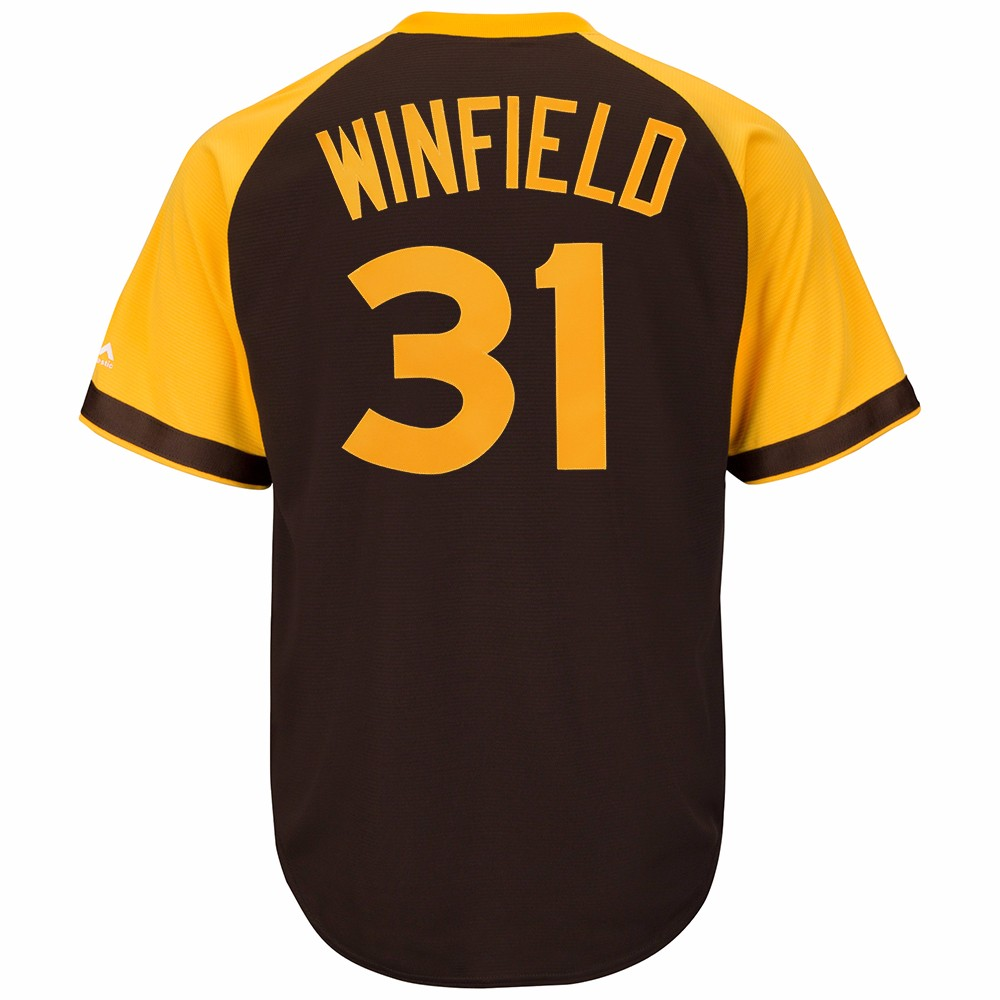 Dave Winfield San Diego Padres MLB Majestic Men's Brown Cooperstown Cool Base Away Jersey