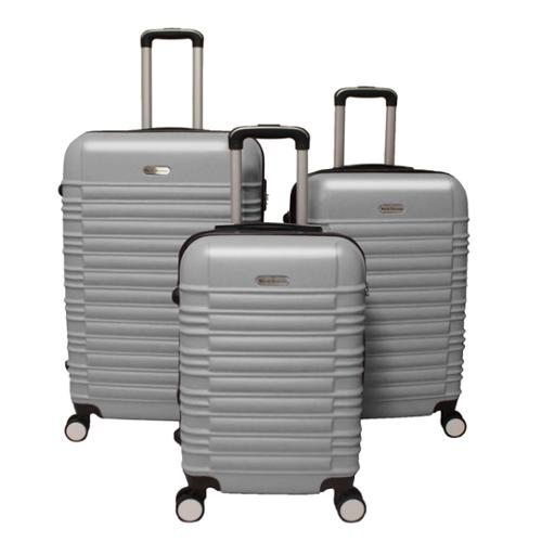 World Traveler California 3-piece Lightweight Hardside Expandable Spinner Luggage Set Silver