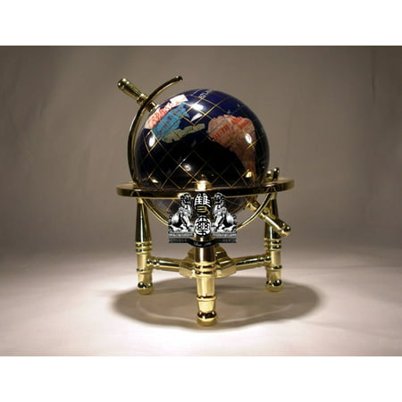 Unique Art 6-Inch Tall Blue Lapis Ocean Mini Table Top Gemstone World Globe with Gold Tripod Stand