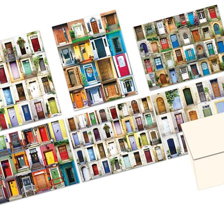 72 Note Cards  - Display of Doors - 6 Designs  - Blank Cards - Off-White Ivory Envelopes (Doom Card)