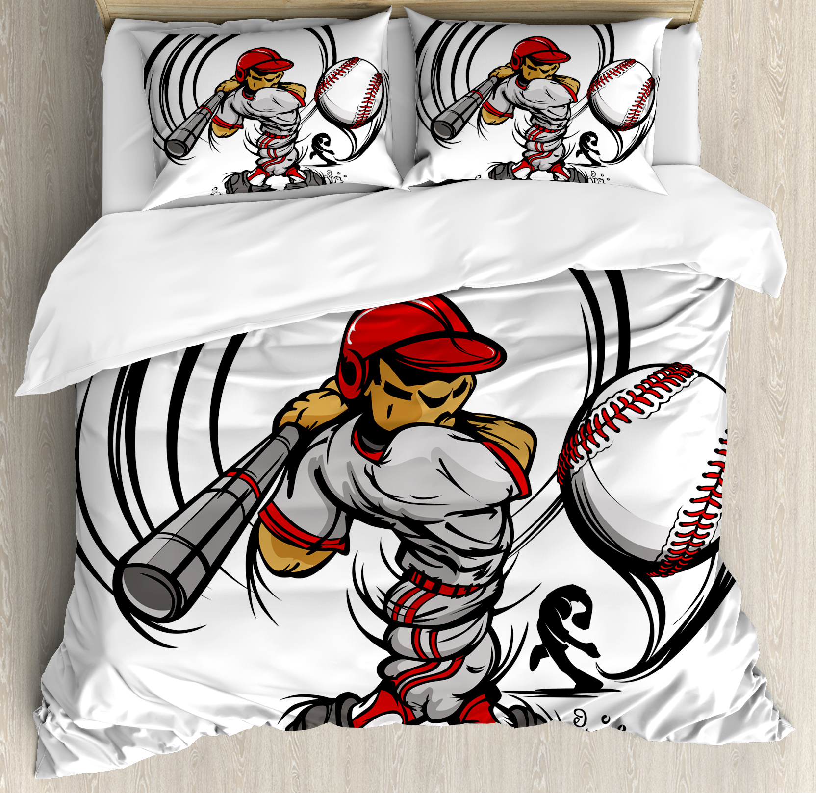 Teen Room Decor Queen Size Duvet Cover Set, Baseball Cartoon Player Hitting the Ball Boys Kids Caricature Print, Decorative 3 Piece Bedding Set with 2 Pillow Shams, Grey Red White, by Ambesonne