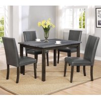5pc Contemporary Style Dining Room Marble Top Set Table & Chairs Furniture Grey