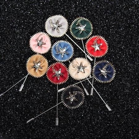 Colors Men's Lapel Flower Daisy Rose Handmade Boutonniere Stick Brooch Pin - Boys Boutonniere