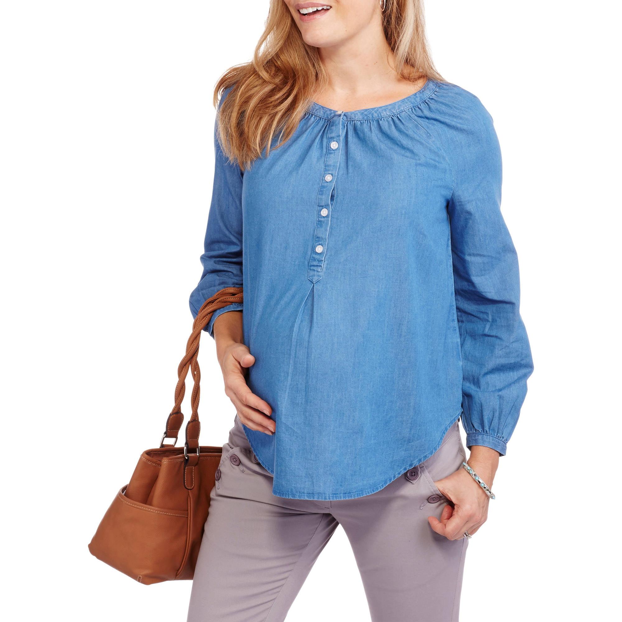 Faded Glory Maternity Chambray Popover Shirt
