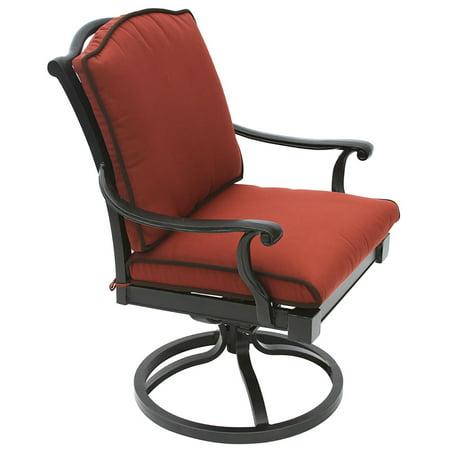 Bahama Cast Aluminum Outdoor Patio Swivel Rocker Chair With Cushion