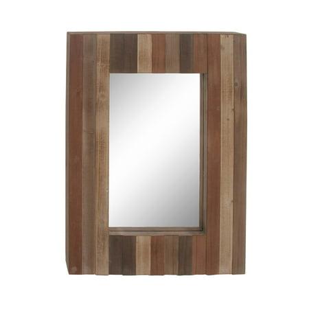 Decmode Rectangular 38 X 28 Inch Slat Style Wood Wall Mirror Dark Brown