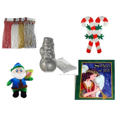 Christmas Fun Gift Bundle [5 Piece] - Brite Star Assorted Bead Garland 18' Ft. Ea. - Vintage 1960's Kage Co. Melted Popcorn Candy Cane - Nordic Ware Snowman Cake Pan - Soft & Cuddly Elf  14