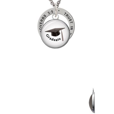 Domed Graduate with Hat Proverbs 3:5 Affirmation Ring Necklace (Graduate Hat)