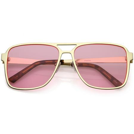 d747c689b sunglass.la - Oversize Flat Top Aviator Sunglasses Color Tinted Square Flat  Lens 58mm (Gold / Pink) - Walmart.com