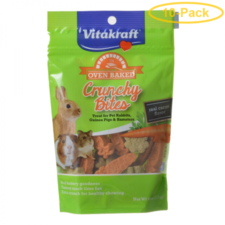 Small Crunchy Bites (Vitakraft Oven Baked Crunchy Bites Small Pet Treats - Real Carrot Flavor 4 oz - Pack of 10 )