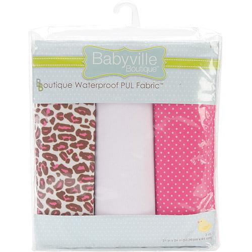 "Babyville Waterproof Diaper Fabric, 21"" x 24"" Cuts, 3/pkg"