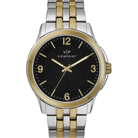Men's 43mm Black Dial Watch, Two-Tone