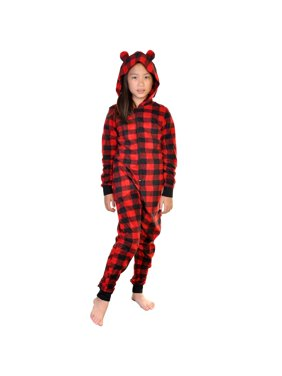 Angelina Kid's Plaid One Piece Matching Holiday Pajamas