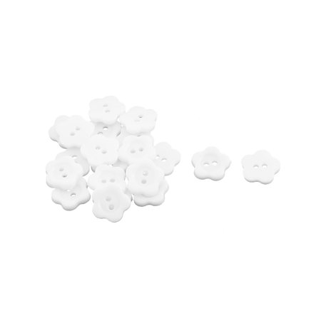 - 13mm Width 2 Hole Plum Blossom Design Clothes Sewing Button White 20pcs