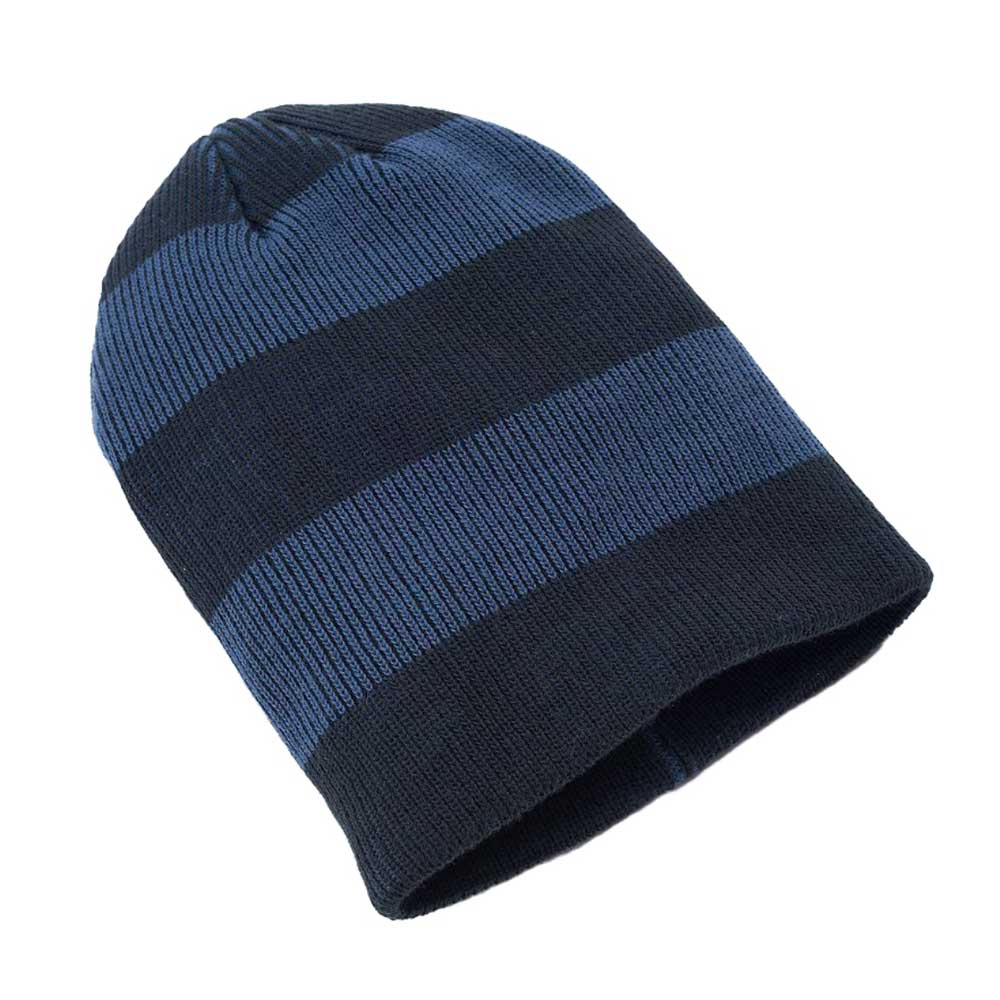Urban Pipeline Men Navy Striped Slouchy Beanie Knit Hat One Size YUP53CW08