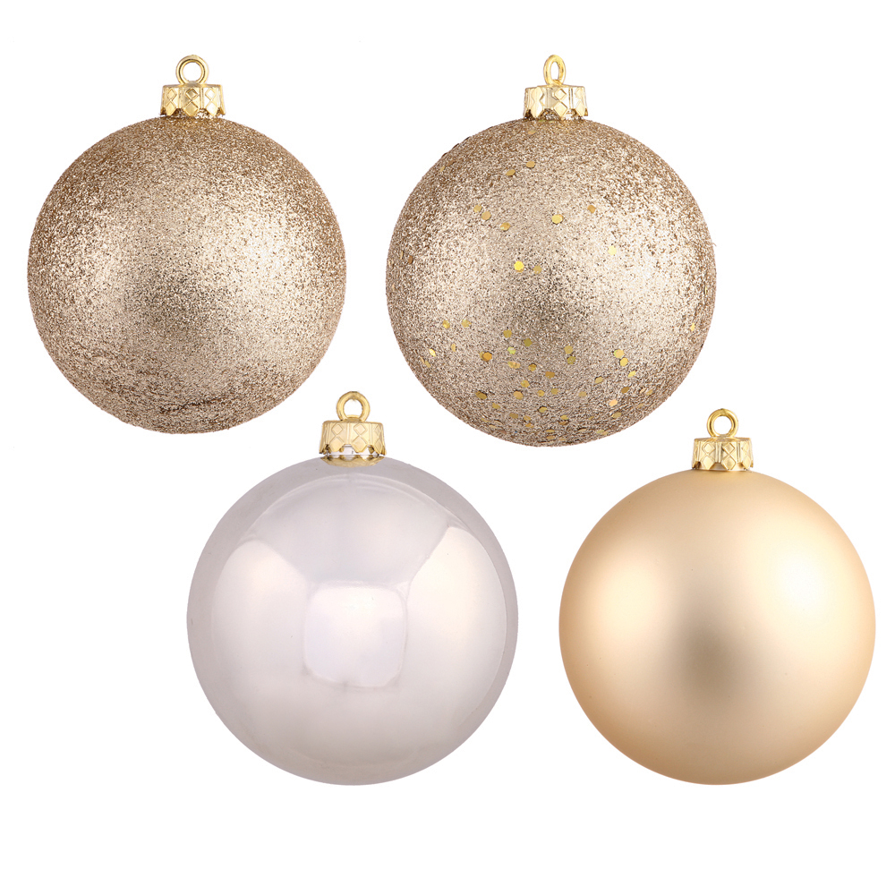 "108ct Champagne, 4 Finish, Shatterproof, Christmas Ball Ornaments 1"" (30mm)"