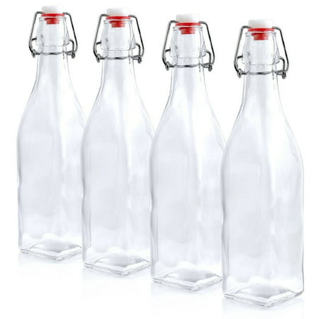 Estilo Swing Top Easy Cap Glass Beer Bottles, Square (16 oz, Set of 4)](Glass Bottles With Stoppers)