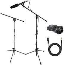Neewer Interview Video Microphone Studio Boom Kit Condenser Shotgun Mic with Windscreen Muff 2 pack Tripod