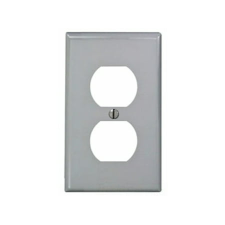 Leviton 80703-GY 1-Gang Duplex Device Receptacle Wallplate, Standard Size, Thermoplastic Nylon, Device Mount, Gray