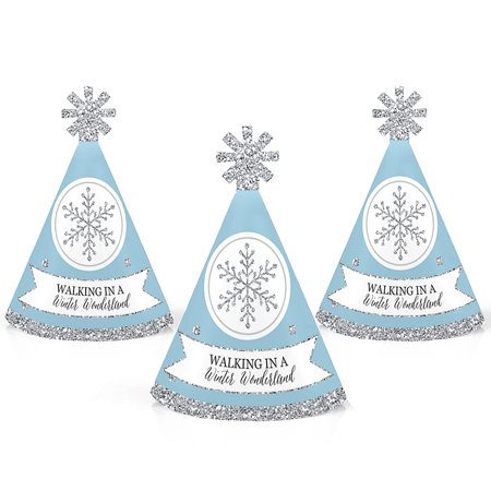 Winter Wonderland - Mini Cone Snowflake Holiday Party Hats - Small Little Party Hats - Set of 10 - Sweet 16 Winter Wonderland Dresses