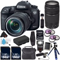 Canon EOS 7D Mark II DSLR Camera (International Version) with 18-135mm f/3.5-5.6 IS USM Lens & W-E1 Wi-Fi Adapter 9128B135 + Canon EF 75-300mm f/4-5.6 III Telephoto Zoom Lens +Carrying Case Bundle
