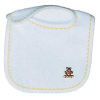Unisex Baby Unisex Appliqued Bib, White/Yellow
