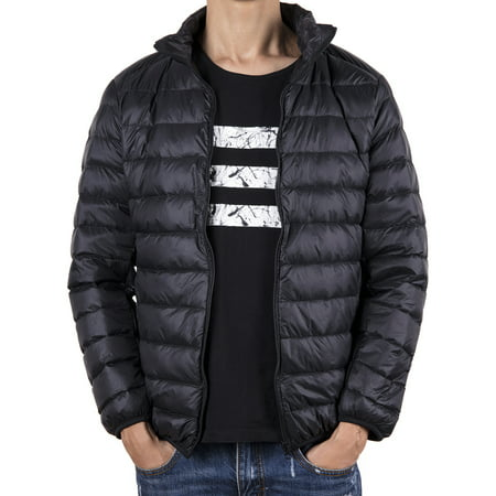 LELINTA Men's  Winter Warmth Heavyweight Down Zipper Jacket Bubble Coat Packable Light Warm  Puffer Jacket Black Blue Grey