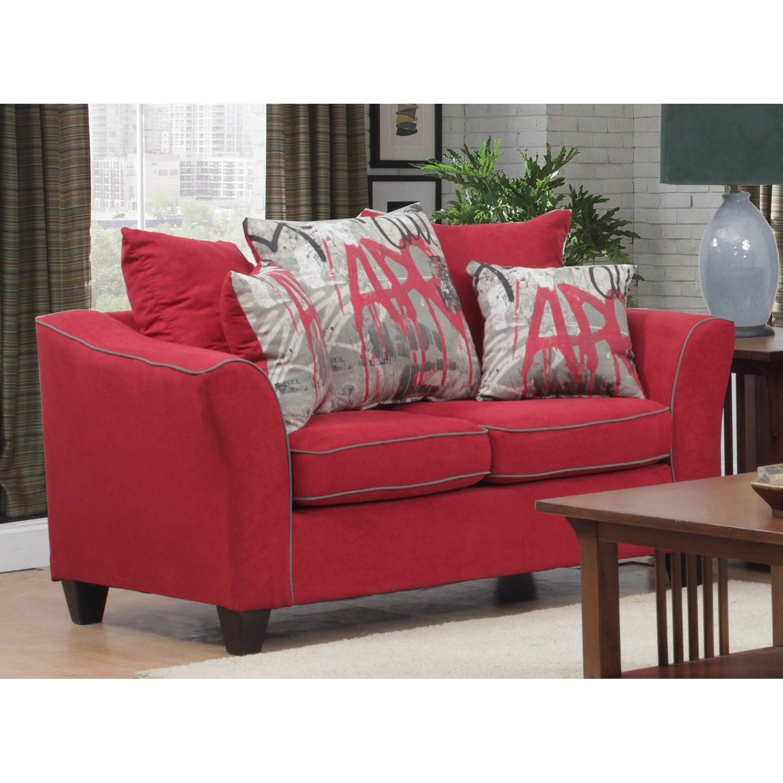 Chelsea Home Brier Loveseat with Toss Pillows